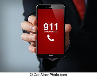 zakenman, smartphone, roepen, noodgeval