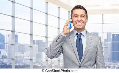 zakenman, smartphone, vrolijke , roepende
