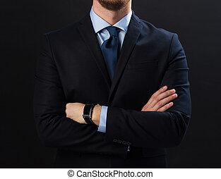 zakenman, smartwatch, kostuum