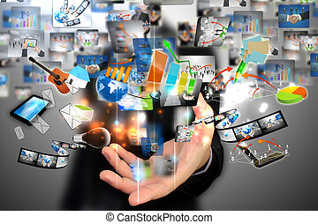 zakenman, sociaal, vasthouden, media