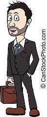 zakenman, spotprent, illustratie