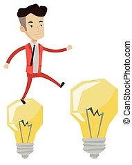 zakenman, springt, bulbs., licht