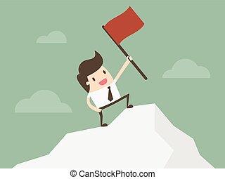 zakenman status, met, rode vlag, op, berg, peak.