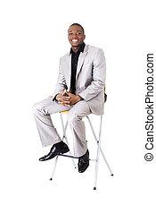 zakenman, stoel, black , zittende
