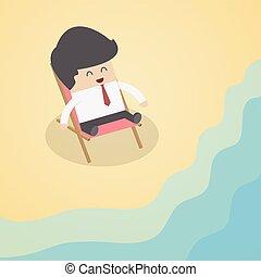 zakenman, strand, relaxen