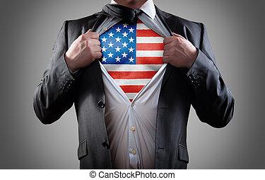 zakenman, superhero, met, de amerikaanse vlag, hemd
