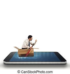 zakenman, surfing, cellphone