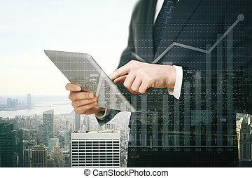 zakenman, tabel, tablet, gebruik