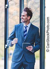 zakenman, tablet, hand