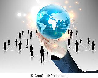zakenman, team, globaal, vasthouden, mensen