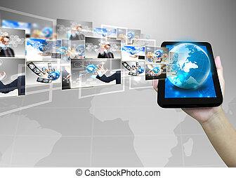 zakenman, .technology, concept, vasthouden, wereld