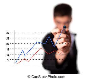 zakenman, tekening, een, grafiek, op, een, glas, scherm