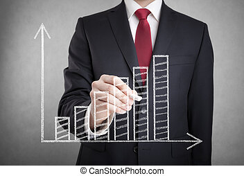 zakenman, tekening, een, groeiende, tabel
