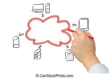 zakenman, tekening, een, wolk, gegevensverwerking, diagram