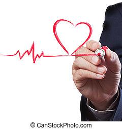 zakenman, tekening, hart, adem, lijn, medisch concept