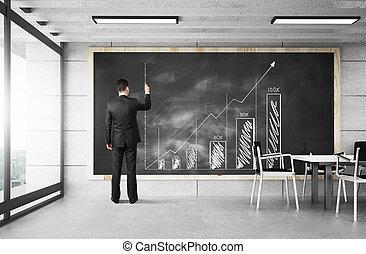 zakenman, tekening, tabel