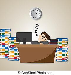 zakenman, tijd, spotprent, werkende , slapende