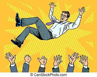 zakenman, triomf, winnaar, zakelijk, succes