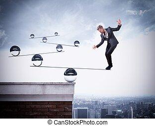 zakenman, vaardigheid, van, evenwicht