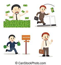 zakenman, vastgesteld ontwerp, dik, illustratie