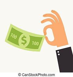 zakenman, vasthouden, in, zijn, hand, de, honderd dollars