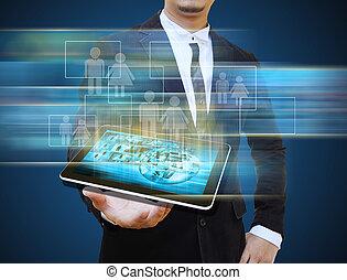 zakenman, vasthouden, tablet, technologie, handel concept