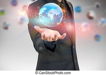 zakenman, vasthouden, wereld