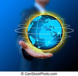 zakenman, vasthouden, wereld, .technology, concept