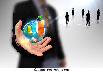 zakenman, vasthouden, zakelijk, wereld