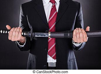 zakenman, vasthouden, zwaard