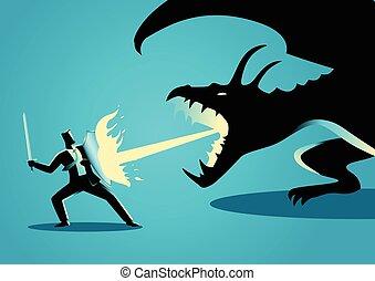 zakenman, vecht, draak