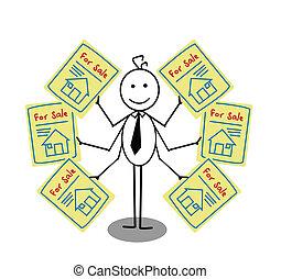 zakenman, verkoop, woning