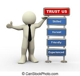 zakenman, vertrouwen, ons, 3d