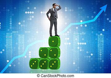 zakenman, voorspelling, concept, zakelijk
