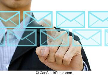 zakenman, voortvarend, post, voor, sociaal, netwerk, op, een, aanraakscherm