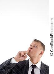 zakenman, vragen, om te, bewaren, stil