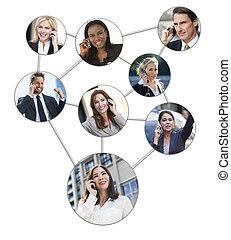 zakenman, vrouwen, mobiele telefoon, netwerk