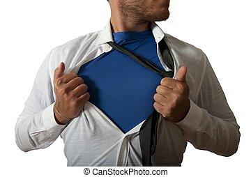 zakenman, waarnemend, zoals, een, super held