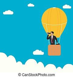 zakenman, warme, verrekijker, balloon, lucht