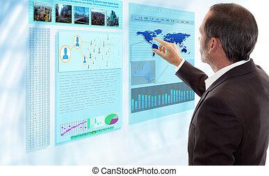 zakenman, werken, met, futuristisch, display