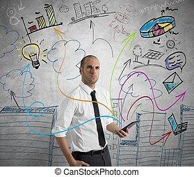 zakenman, werken, tablet