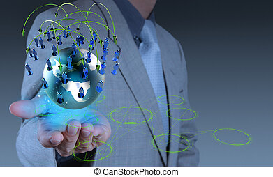 zakenman, werkende , met, nieuw, moderne, computer, tonen, sociaal, netwerk, structuur