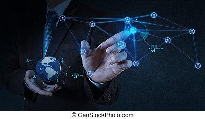 zakenman, werkende , met, nieuw, moderne, computer, tonen,...