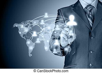 zakenman, werkende , met, nieuw, moderne, computer, tonen