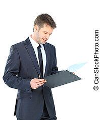zakenman, wij, klembord, schrijvende