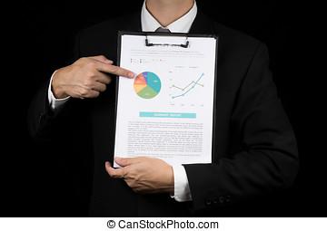 zakenman, wijzen aan, marketinggraph