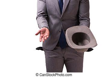 zakenman, witte , failliet, achtergrond, vrijstaand