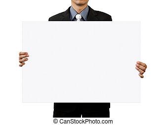 zakenman, witte , leeg, vasthouden, meldingsbord