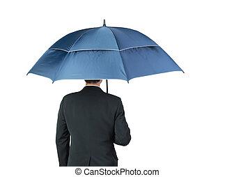 zakenman, witte paraplu, achtergrond