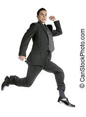 zakenman, witte , volle, studio, springt